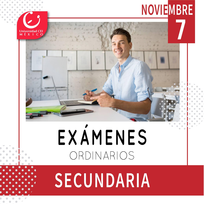 exámenes ordinarios secundaria noviembre