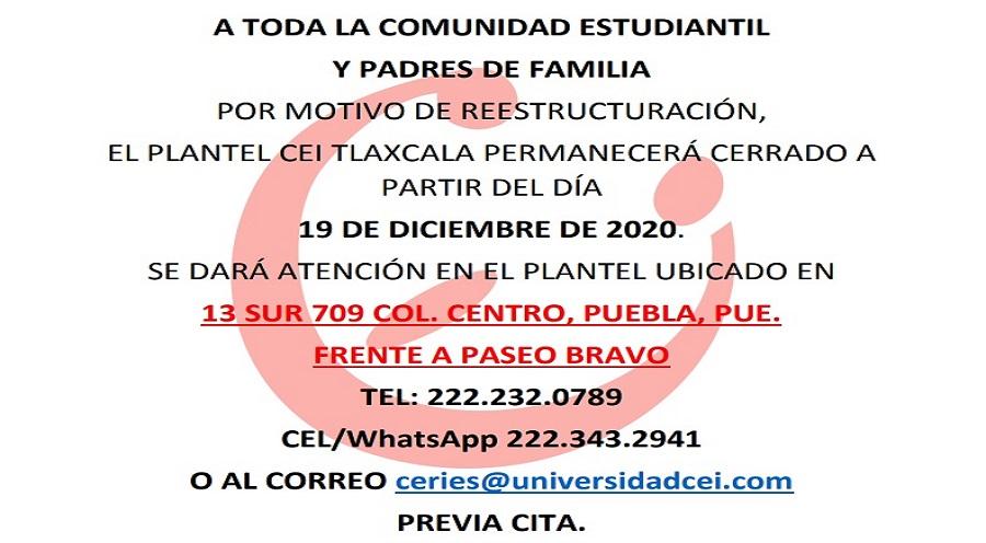 aviso cierre cei Tlaxcala