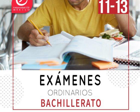 Exámenes ordinarios Bachillerato